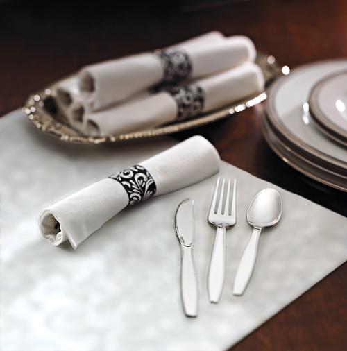 Pre-Rolled Napkins - Metallic Cutlery - CaterWraps