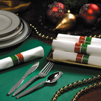 Festive Holiday Rolled Napkins &  Metallic Plastic Silverware