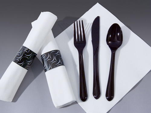Pre-Rolled White FashnPoint Napkins - Black Cutlery – CaterWraps