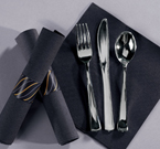 Pre-Rolled Black Napkins - Metallic Cutlery - CaterWraps