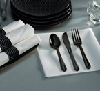 Rolled White Napkins & Black Plastic Cutlery - Mystic
