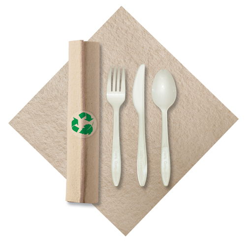 Rolled Recycled Napkins with Compostable Silverware