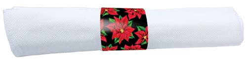 Christmas Poinsettias Rolled Napkins & Black Plastic Silverware