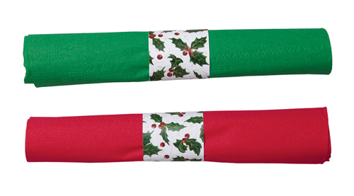 Holly Red & Green Rolled Napkins & Clear Plastic Silverware