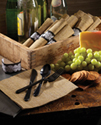 Rolled Burlap Napkins with Black Cutlery