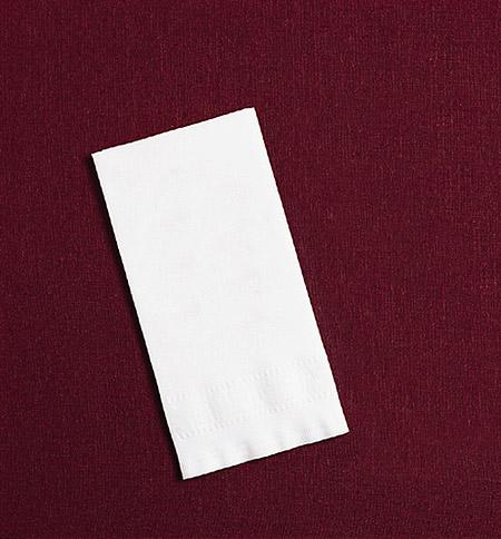 White Linen Like Paper Dinner Napkins -  Greek Key Embossing