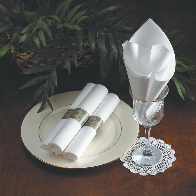 White Linen Like Flat Pack Napkins - Select