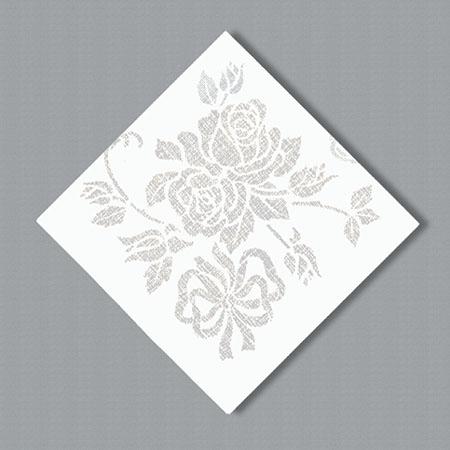 Linen Like Paper Dinner Napkins - Silver Floral Prestige