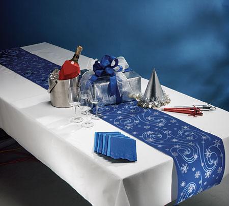 Christmas Disposable Table Runner Rolls - Winter Reversible Linen Like