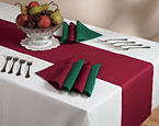 Disposable Paper Table Runners - Burgundy Linen Like
