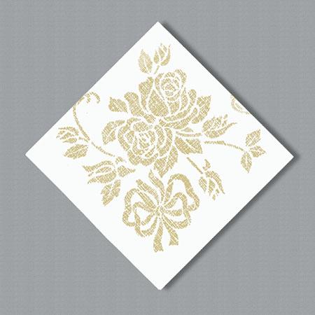 Linen Like Paper Dinner Napkins -  Gold Floral Prestige