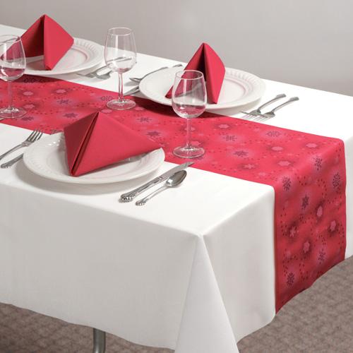 Disposable Christmas Table Runners - Snowflake Linen Like