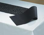 Black Linen Like Table Runners - Reversible Swirl