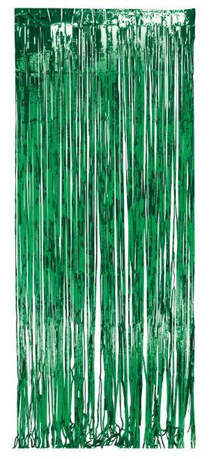 Green Foil Fringe Door Curtains