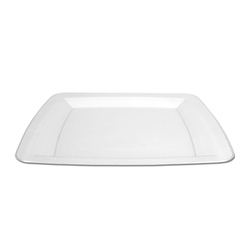 Clear Square Plastic Dinner Plates - 10.25""