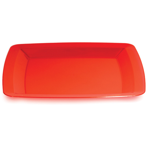 Red Square Plastic Banquet Dinner Plates - 10.25""