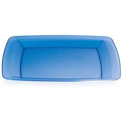"Blue Square Plastic Dinner Plates - 10.25"""