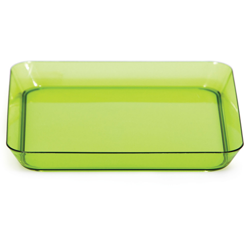 Green Square Plastic Appetizer Plates - 5 Inches