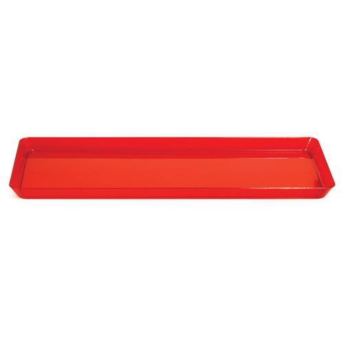 "Red Plastic Rectangular Trays - 6"" x 15.5"""