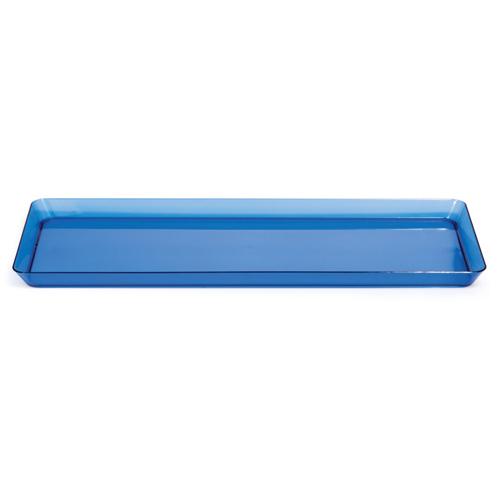 "Blue Rectangular Plastic Trays - 6"" x 15.5"""