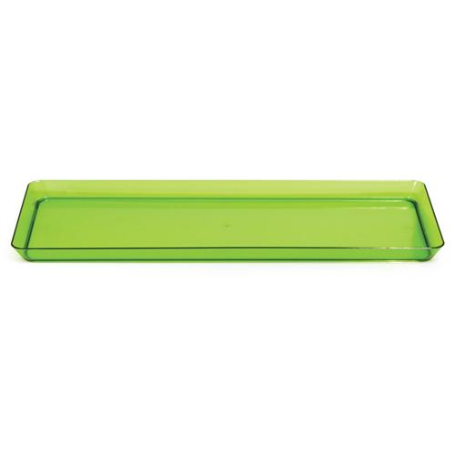 "Green Plastic Rectangular Trays - 6"" x 15.5"""