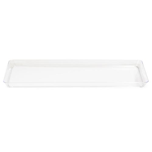 "Clear Plastic Rectangular Trays - 6"" x 15.5"""