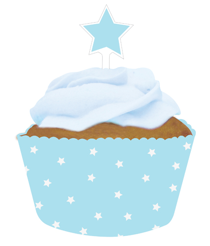 Pastel Blue Cupcake Pick and Wrap Sets