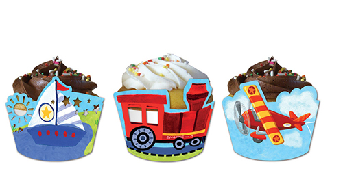 Airplanes, Trains, Sailboats Cupcake Wrappers