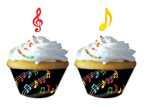 Music Notes Cupcake Wrappers & Picks