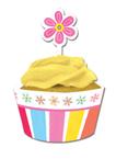 Pink Flower Cupcake Wrappers & Picks