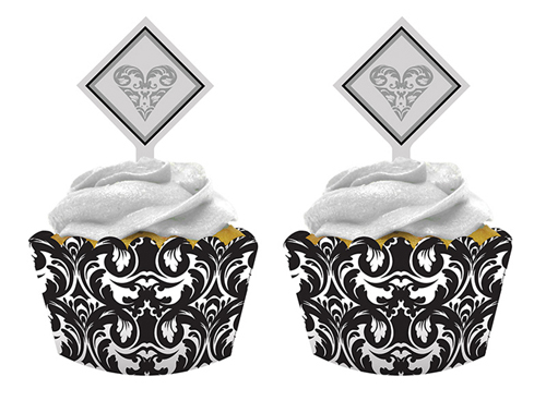 Ever After Wedding Cupcake Wrappers and Picks