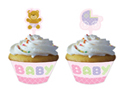 Pink Teddy Bear Cupcake Wrappers and Picks