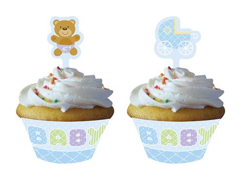 Blue Teddy Bear Cupcake Wrappers & Picks