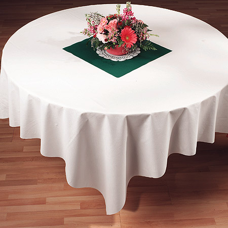 White Linen Like Paper Table Covers  - 82 Inch