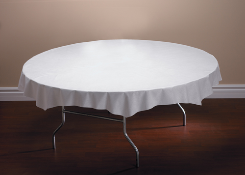 White Octy-Round Linen Like Paper Table Covers – 82 Inch