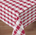 Red Gingham Plastic Lined Paper Tablecloths - 54 Inch