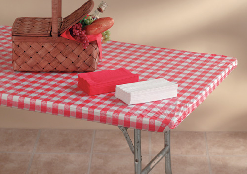 Red Gingham Plastic Tablecloths with Elastic - 6 Foot