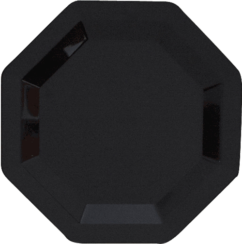 Black Octagon Plastic Dessert Plates
