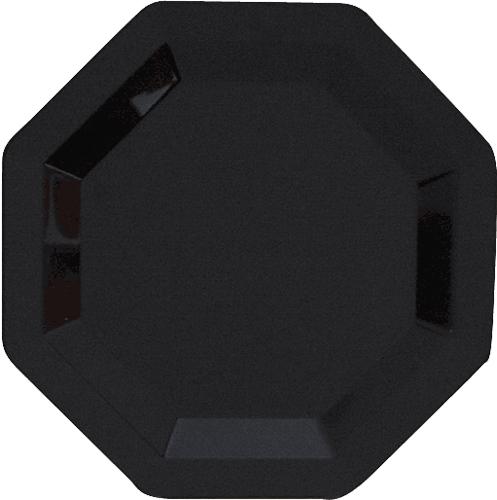 Black Octagon Plastic Dinner Plates