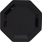 Black Octagon Plastic Dinner Plates