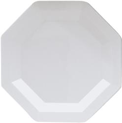 White Octagon Plastic Dessert Plates