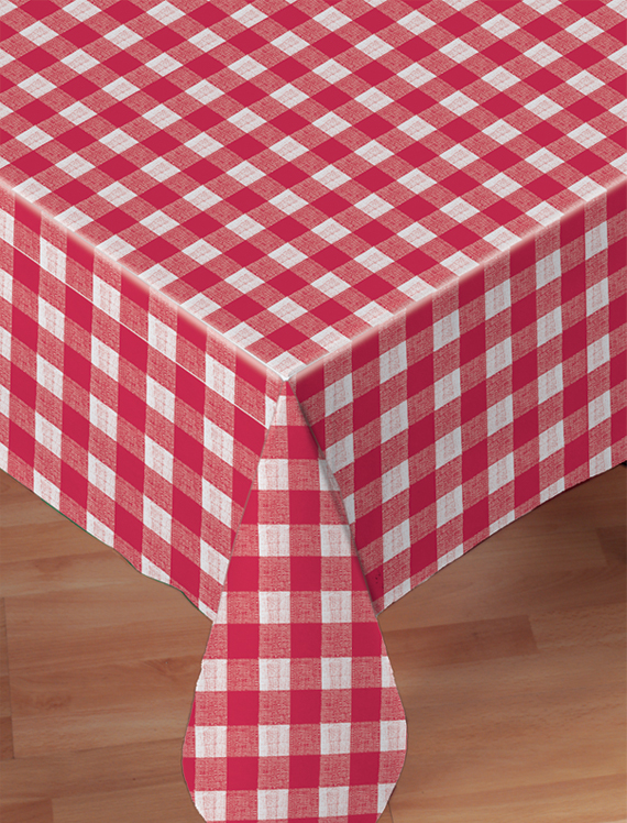 Red Check Linen Like Banquet Tablecloths - 24 Count