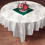 Silver Floral Prestige Linen Like Paper Table Covers  - 82 Inch