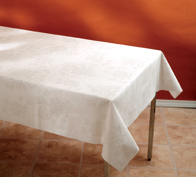 Linen Like Paper Table Cover Rolls - Silver Floral Prestige