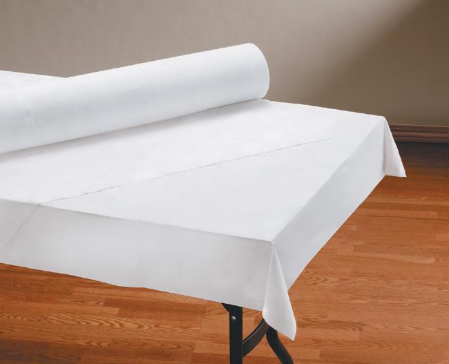 Linen Like Paper Table Cover Rolls - White