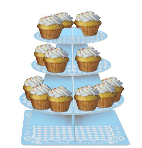 Baby Boy Gingham Cupcake Tiers