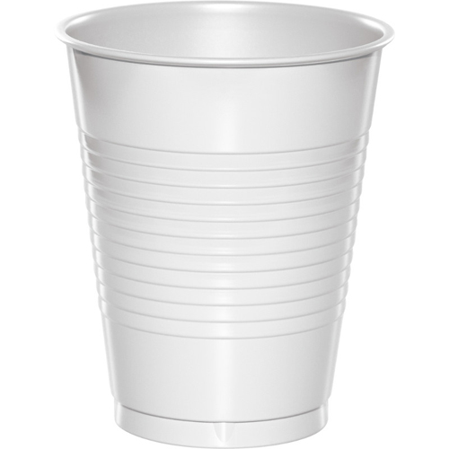 White Plastic Beverage Cups - 16 oz