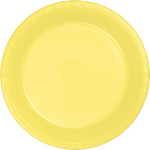 Mimosa Yellow Plastic Banquet Dinner Plates