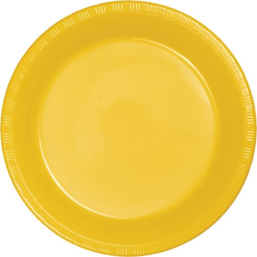 School Bus Yellow Plastic Dessert Plates - Bulk