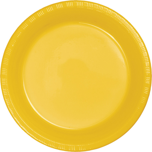 School Bus Yellow Plastic Luncheon Plates - Bulk